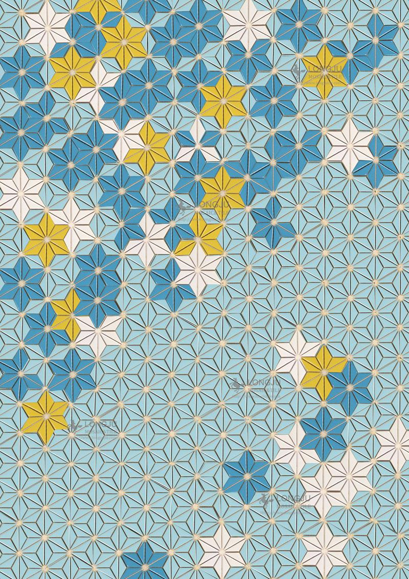 Latest Triangle Shape Flower Pattern Design Mosaic Wall