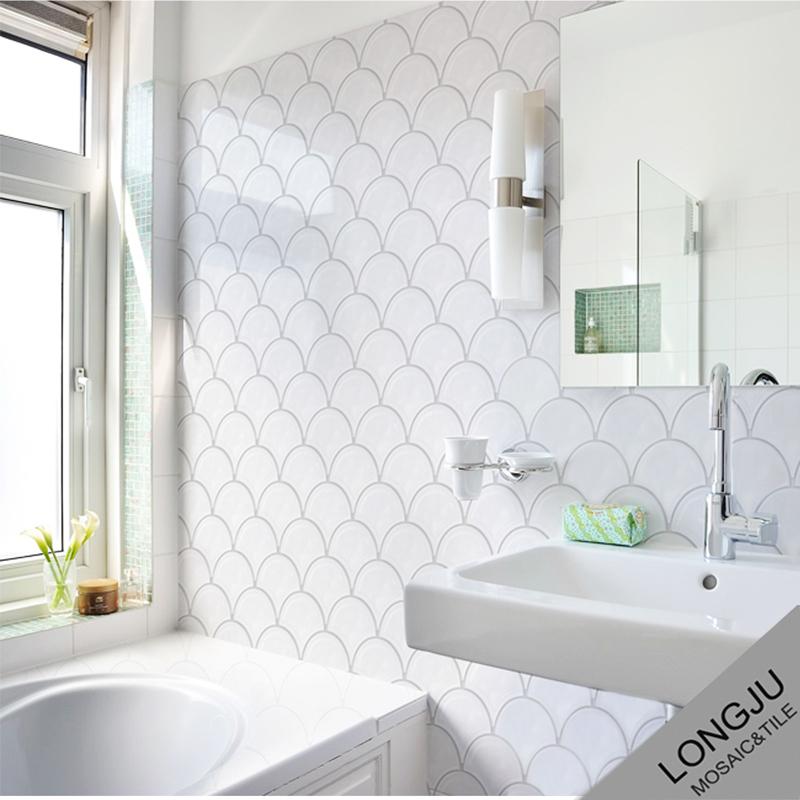 House interior wall decoration fish scale fan shape mosaic ceramic ...