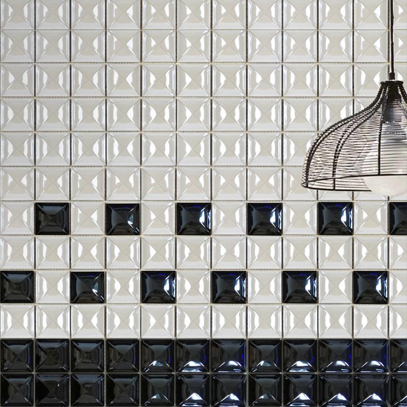 3d White And Black Titanium Mosaic Tile Living Room